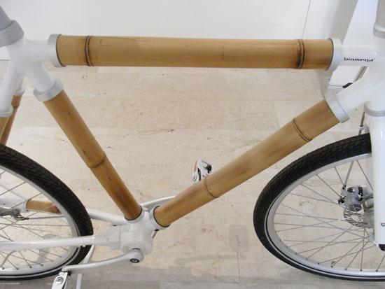 Bambus-Bike von biomega, Rahmen-Ansicht. Es sieht natürlich, stabil und leicht aus.