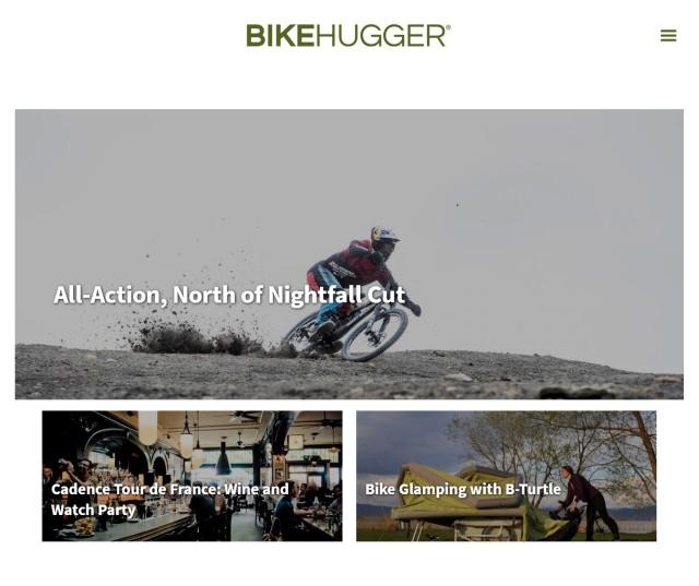 Screenshot vom Bike-Hugger Blog. Wir sehen den oberen Bericht. Unter dem Logo in der Mitte ist ein großes Bild mit Überschrift zu sehen und darunter zwei weitere.