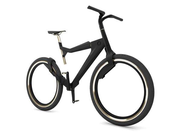Hybrid Bike ohne Naben von Peter Dudas. Sieht sehr futuristisch aus zumal auch der Sattel halb in der Luft hängt.
