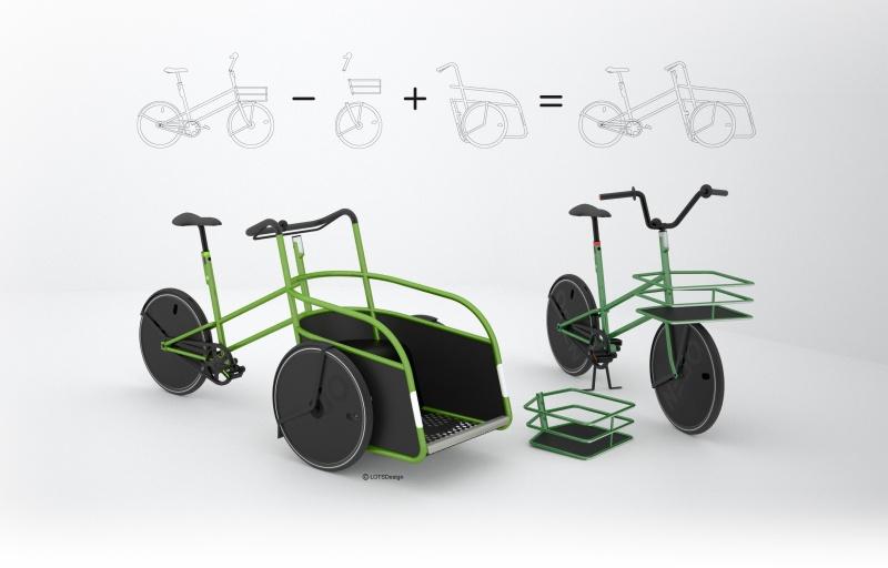 OPENbike wird optional zum Lastenrad mit großer Fläche vorne