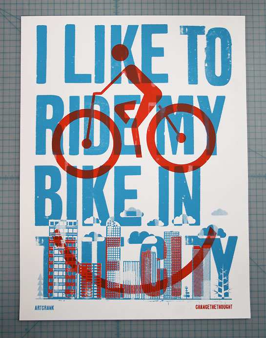 "Artcrank Fahrrad-Poster ""I like to ride my bike in the city"" von Change the Thought."
