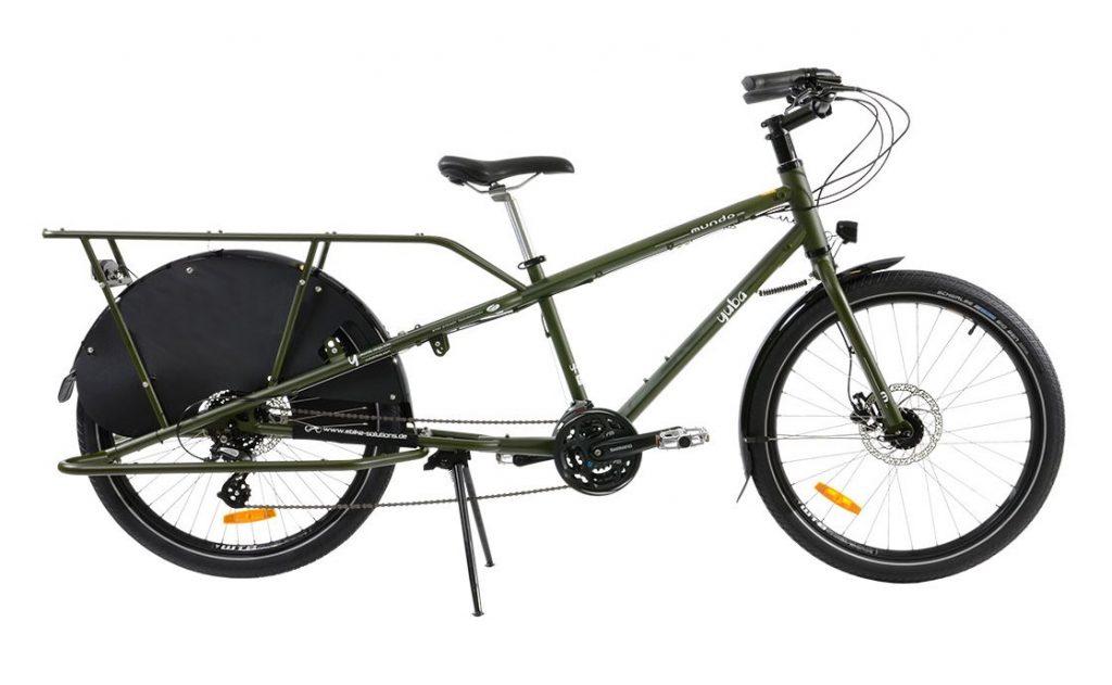 Yuba Mundo Lux 2020 in oliv und mit Hinterrad-Schutz