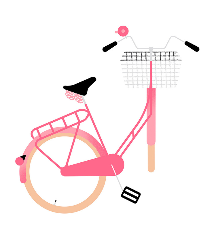 Bikes of Copenhagen: Hollandrad in pink mit Korb